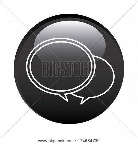 black circular frame with speech bubbles vector illustration