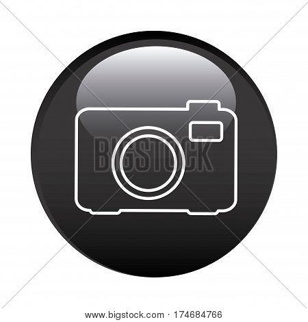 black circular frame with analog camera icon vector illustration
