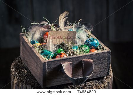 Fresh Easter Eggs In Wooden Small Box