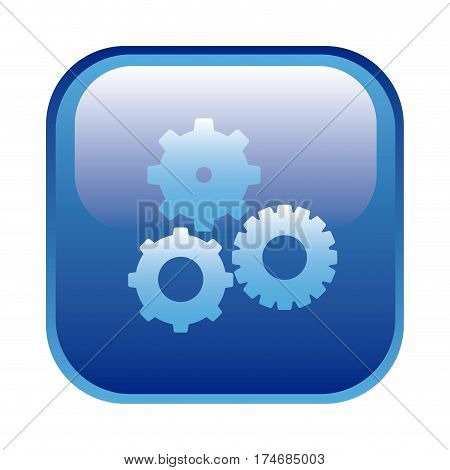 blue square frame with pinions set icon vector illustration