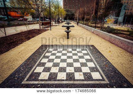 Checker tables in downtown El Paso Texas.