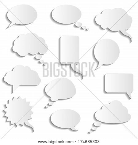 vector collection of realistic paper speech bubbles