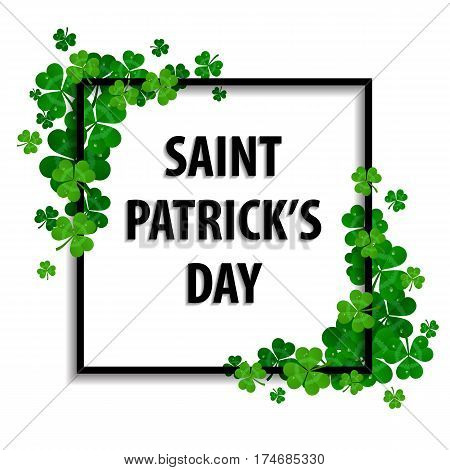 Saint Patrick's day vector frame with green shamrock