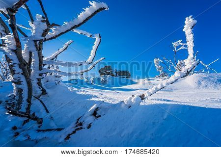 Large stone formations among the winter landscape of a Karkonosze mountains as seen from the Szrenica mountain, Poland