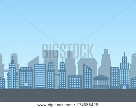 vector seamless background with siluettes of buildings