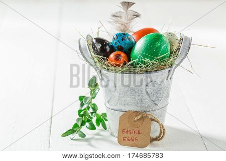 Colourfull Eggs For Easter With Feathers And Hay