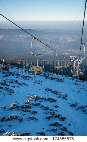 Ski lift up to the top of the Szrenica mountain in Szklarska Poreba resort town, Karkonosze mountains, Poland