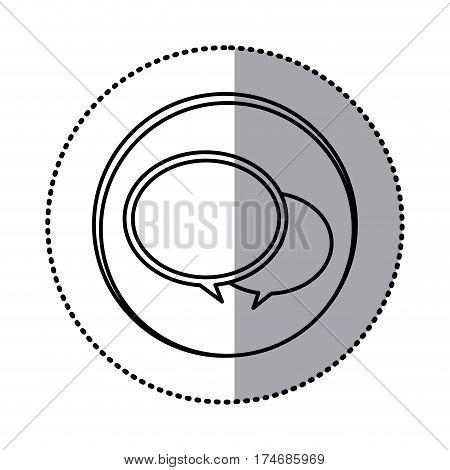 monochrome contour with circle sticker of speech bubbles vector illustration