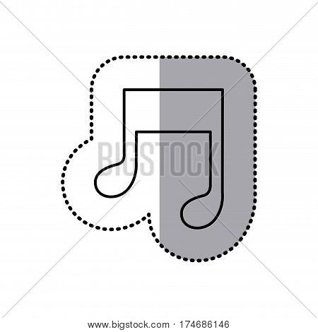 monochrome contour sticker of musical note vector illustration
