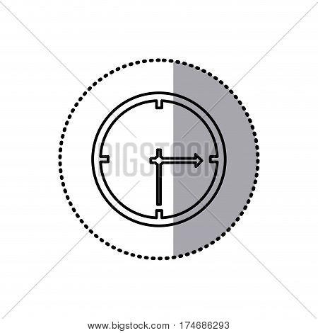 monochrome contour sticker of wall clock vector illustration