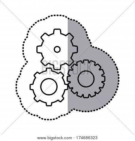 monochrome contour sticker of pinions set vector illustration