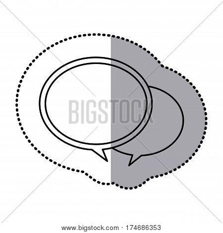monochrome contour sticker with speech bubbles vector illustration