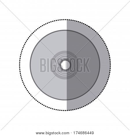 sticker grayscale silhouette with compact disc vector illustration