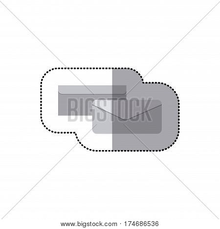sticker grayscale silhouette with envelope in view two sides vector illustration