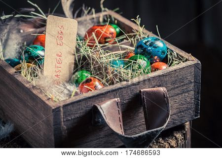 Colourfull Easter Eggs In Wooden Small Box