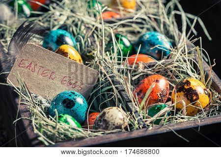 Fresh Eggs For Easter In Wooden Small Box With Hay