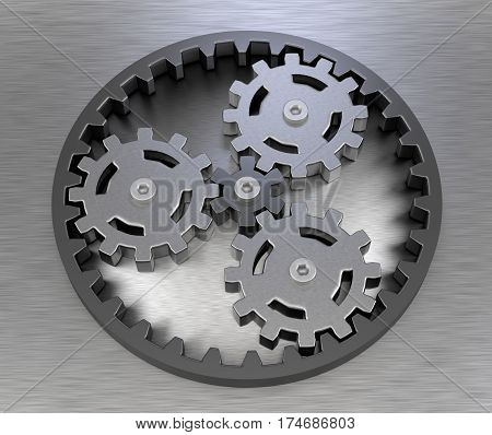 planetary gear stainless steel teamwork concept and business ideas strategy metal symbol 3D illustration
