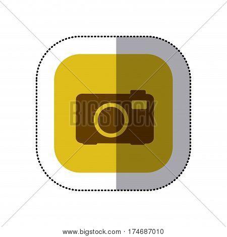 sticker color square with analog camera icon vector illustration