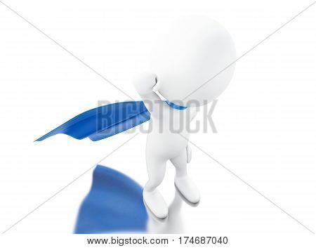 3D Super Hero With Blue Cape.