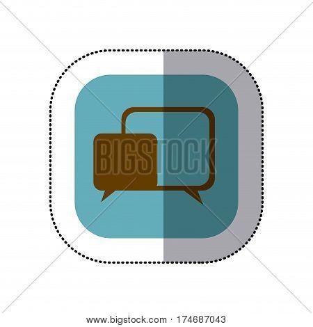 sticker color square with speech icon vector illustration