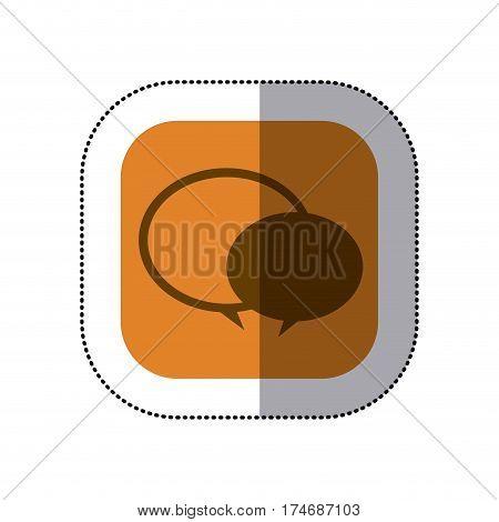 sticker color square with speech bubble icon vector illustration