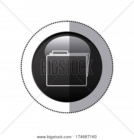 sticker black circular frame with folder icon vector illustration