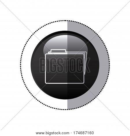 sticker black circular frame with folder icon vector illustration