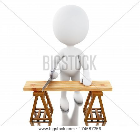3D Carpenter Cutting Wood With Handsaw.