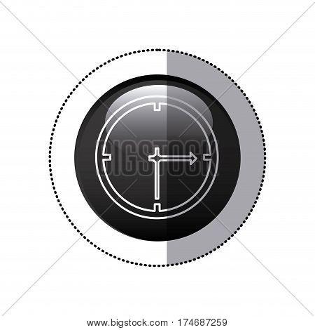 sticker black circular frame with wall clock icon vector illustration
