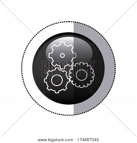 sticker black circular frame with pinions set icon vector illustration