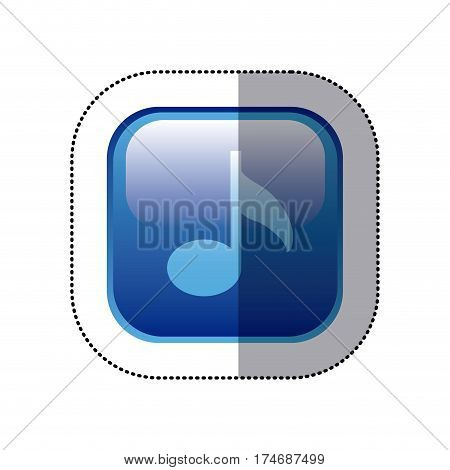 sticker blue square frame with musical note vector illustration