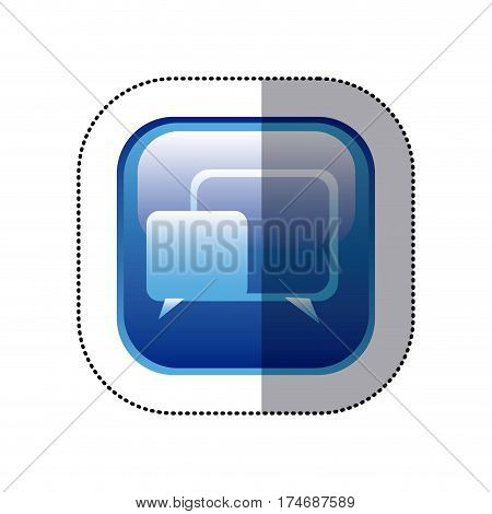 sticker blue square frame with speech icon vector illustration