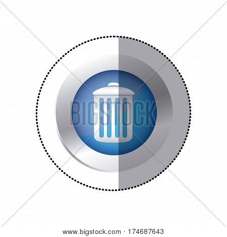 sticker color circular emblem with trash container icon vector illustration