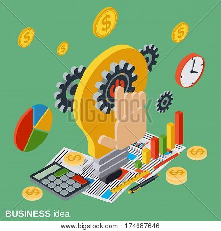 Business idea, innovation, project flat isometric vector concept illustration