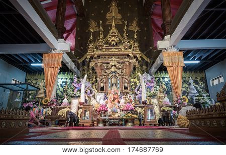 KANCHANABURI THAILAND - 1 March 2017: Wat Wang Wiwekaram or Wat Mon is a symbol of Sangkhlaburi at KANCHANABURI