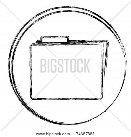 blurred silhouette circular frame with folder icon vector illustration