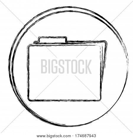 blurred silhouette circular frame with file icon vector illustration