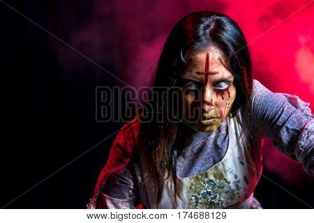 The lost girl: This evil undead girl is brought to life using custom theatrical lighting, makeup, and special effects