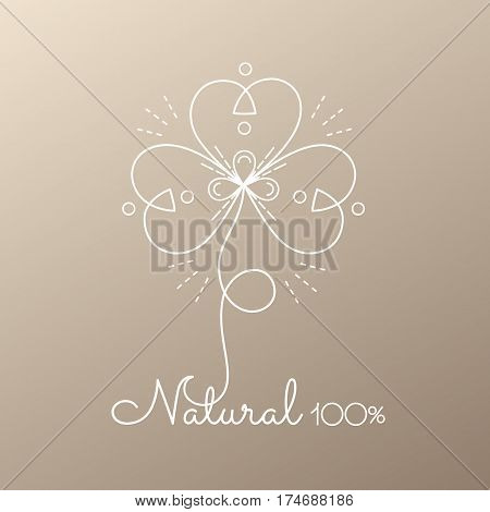 Vector logo of floral element.Abstract flower icon. Emblem for design of natural products, organic food, cosmetics and global ecology.