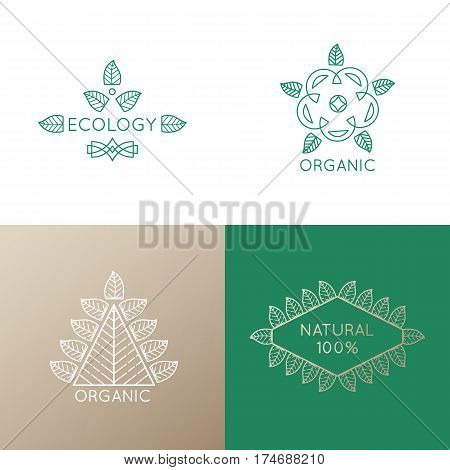 Vector set of logo elements - abstract leafs, tree, flower and frame. Floral icons. Emblems for design of natural products, cosmetics and global ecology.
