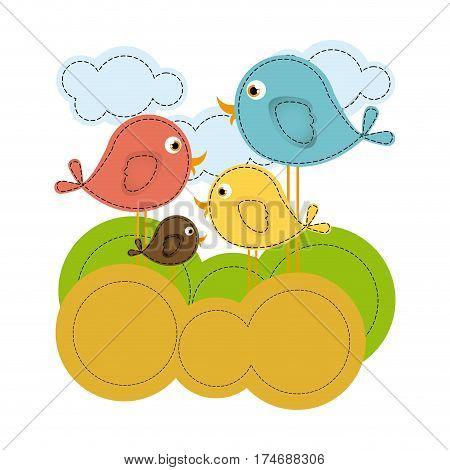 colorful landscape with cartoon birds set vector illustration