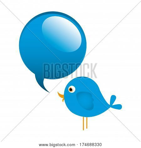 blue cute cartoon bird animal icon with dialog bubble icon vector illustration