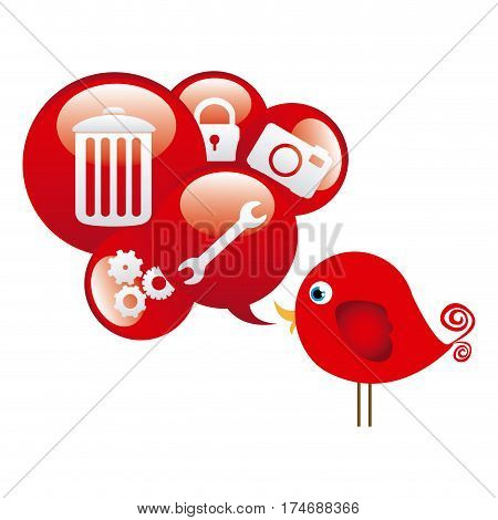 red cute cartoon bird with dialog bubble with elements vector illustration