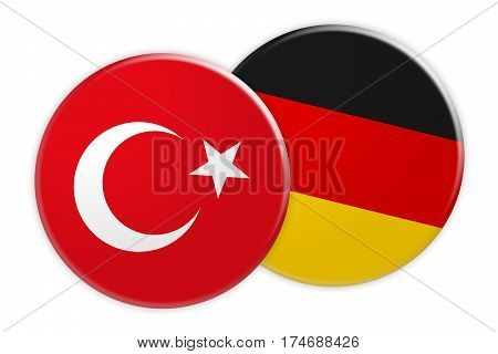Politics News Concept: Turkey Flag Button On Germany Flag Button 3d illustration on white background