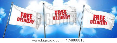 free delivery, 3D rendering, triple flags
