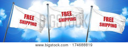 free shipping sign, 3D rendering, triple flags
