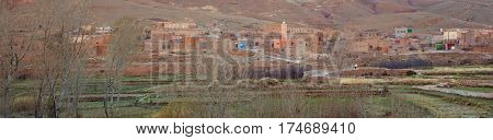 Small village  in the High Atlas Mountains  in Morocco. panorama view with Vintage editing