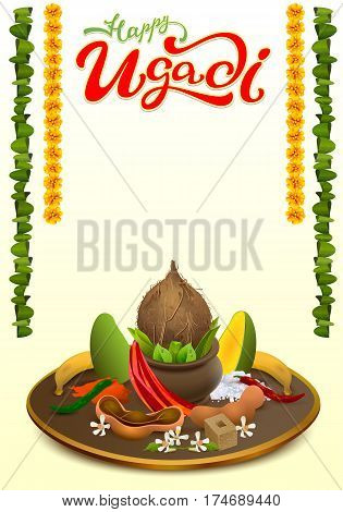 Happy Ugadi lettering text. Set Holiday accessories. Coconut, sugar, salt, pepper, banana, mango. Vector food illustration