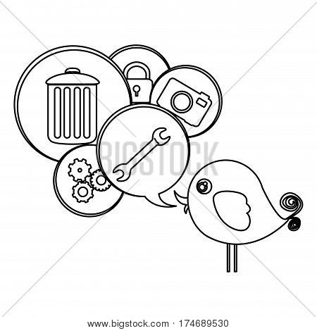 silhouette cute cartoon bird with dialog bubble with elements vector illustration