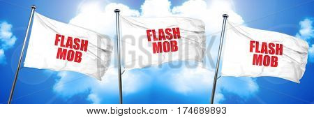 flash mob, 3D rendering, triple flags